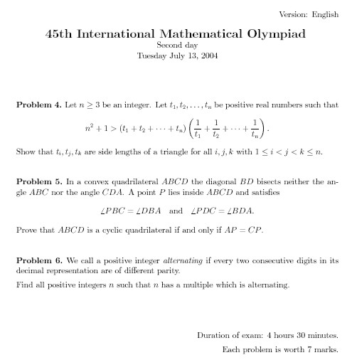 International Mathematics Olympiad
